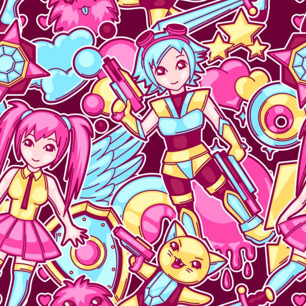 japanese anime cosplay seamless pattern. cute kawaii characters and items - anime girl stock illustrations