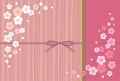 Japanese apricot, ume and pink background