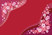 Japanese apricot, ume and red background