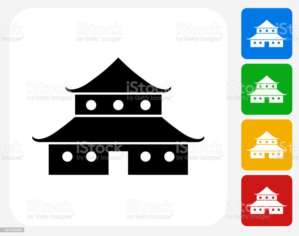 Japanese Architecture Icon Flat Graphic Design Royalty Free Stock