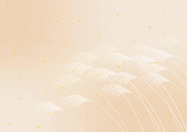 illustrazioni stock, clip art, cartoni animati e icone di tendenza di japanese autumn scenery.miscanthus sinensis. - miscanthus sinensis