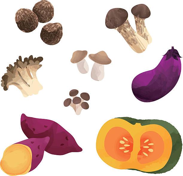 日本の秋の野菜 - しめじ点のイラスト素材/クリップアート素材/マンガ素材/アイコン素材