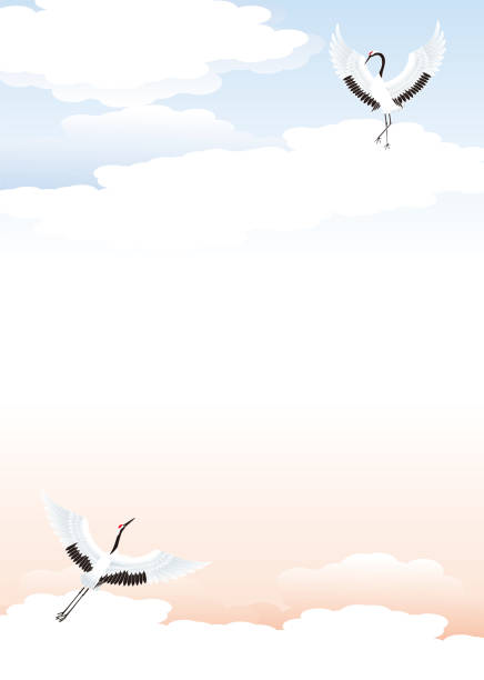 Japanese background material of clouds and cranes vector art illustration