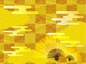 ゴールドと折れのファンの日本の背景