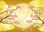 Japanese background background material which imaged moon on Japanese pattern of cherry blossoms and gold