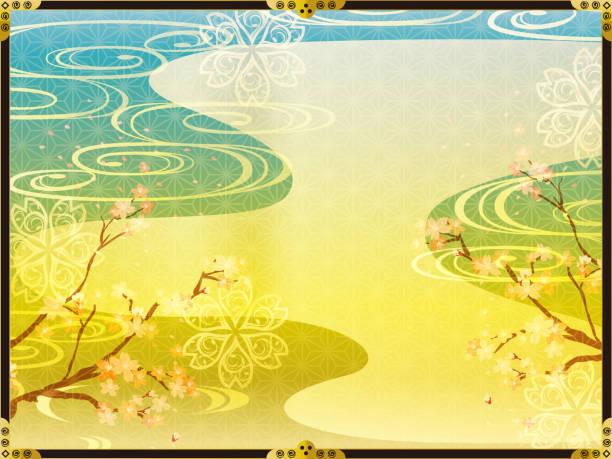 ilustrações de stock, clip art, desenhos animados e ícones de japanese background pattern of cherry blossoms and gold - cherry blossoms