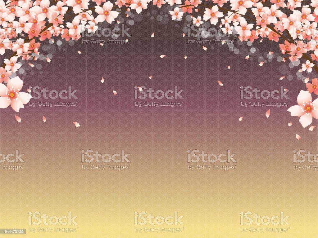 Motif De Fond Japonais De Cerisiers En Fleurs Et Dor Cliparts