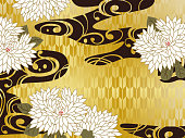 Background material with waves in Japanese flower and gold background