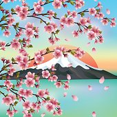 Japanese background with mountain and sakura blossom- Japanese cherry tree, symbols of oriental culture. Beautiful Japanese landscape, vector illustration.
