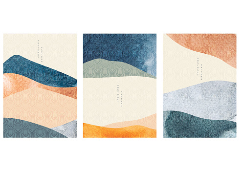 Japanese background with watercolor texture vector. Abstract template with geometric pattern. Mountain layout design in oriental style
