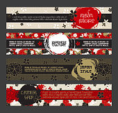 Japanese Banner Templates Set. Asian Culture Squama and Sakura Blossom Patterns. Vector Horizontal Banners, Website Headers Design With Inked Circles. Use for Japan Restaurant Menu, Wedding Cards