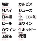 Japanese bar drinks, Kanji and Katakana with translation