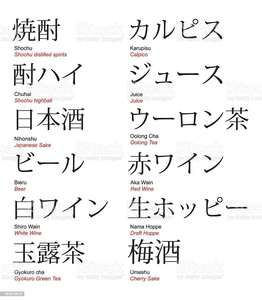 Japanese bar drinks kanji and katakana with translation stock japanese bar drinks kanji and katakana with translation royalty free japanese bar drinks kanji biocorpaavc Gallery