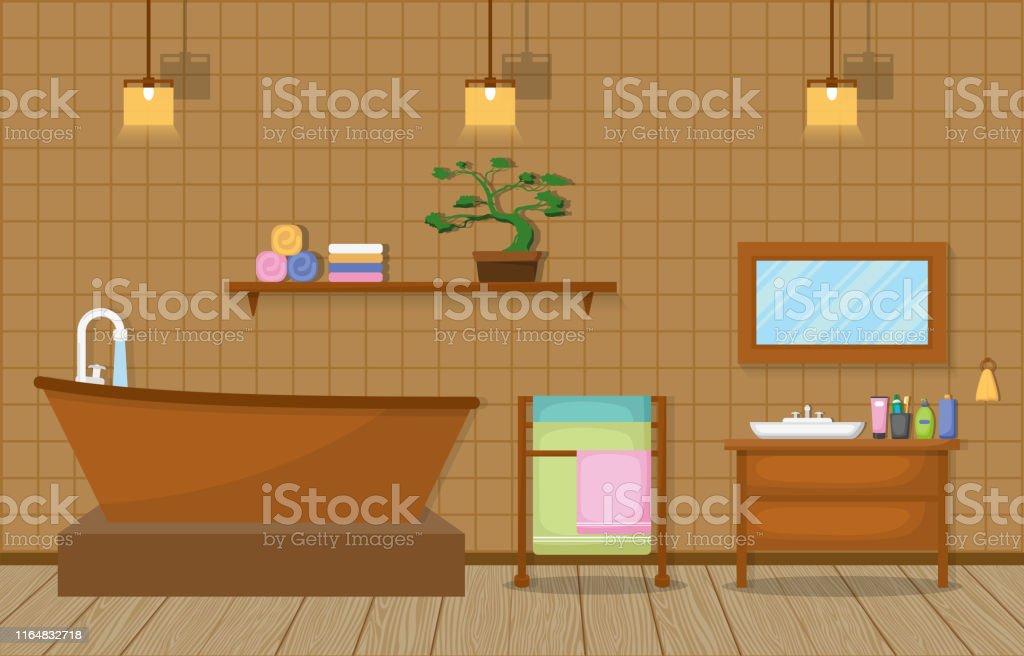 Illustration Intérieure Résidentielle De Salle De Bains ...