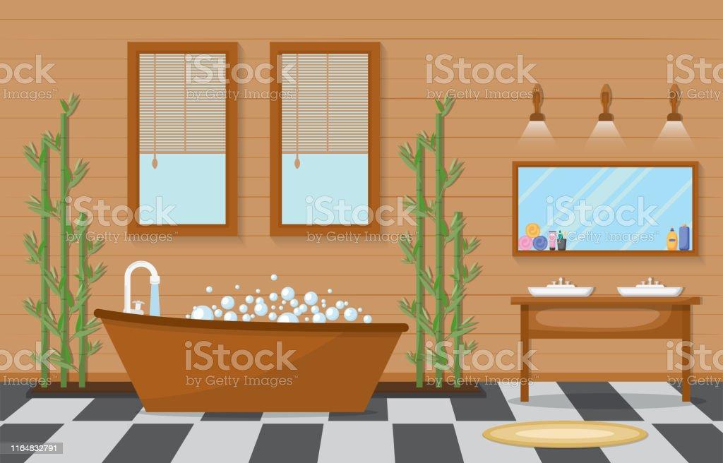 Japanische Badezimmer Wohnung Traditionellen Stil Holz ...