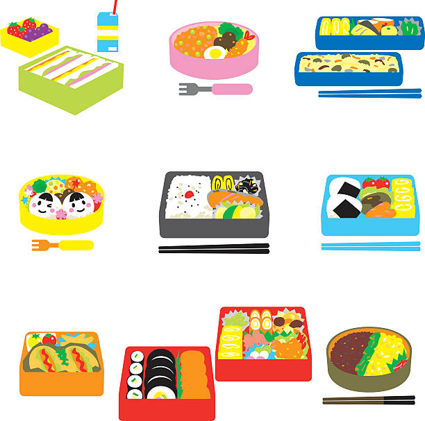 japanese bento, box lunch, bento box - lunch box stock illustrations, clip art, cartoons, & icons