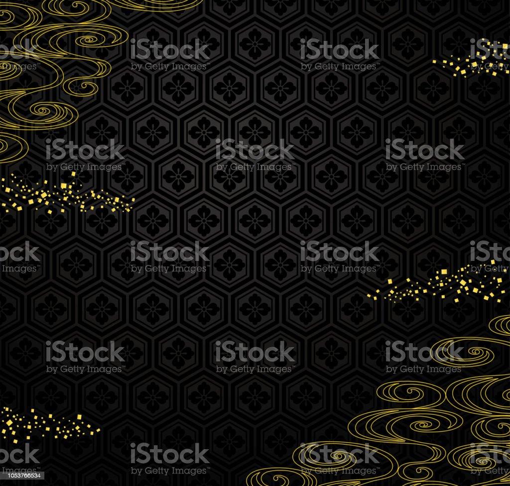 黒毛は黄金の粉と川を背景。 ベクターアートイラスト