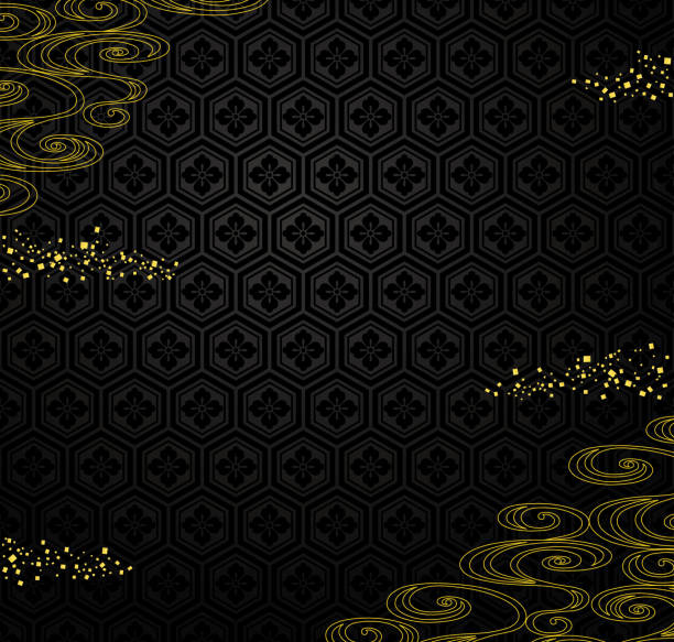 Japanese black background with golden powder and river. Japanese black background with golden powder and river. Japanese traditional design on background. japanese culture stock illustrations