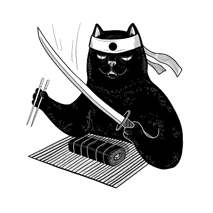 Japanese black cat eating sushi with chopsticks. Vector samurai cat with katana for design, t-shirt, print, poster