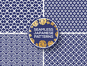Japanese blue seamless patterns set with peony circle label or emblem. Vector illustration. Wave seigaiha ornament