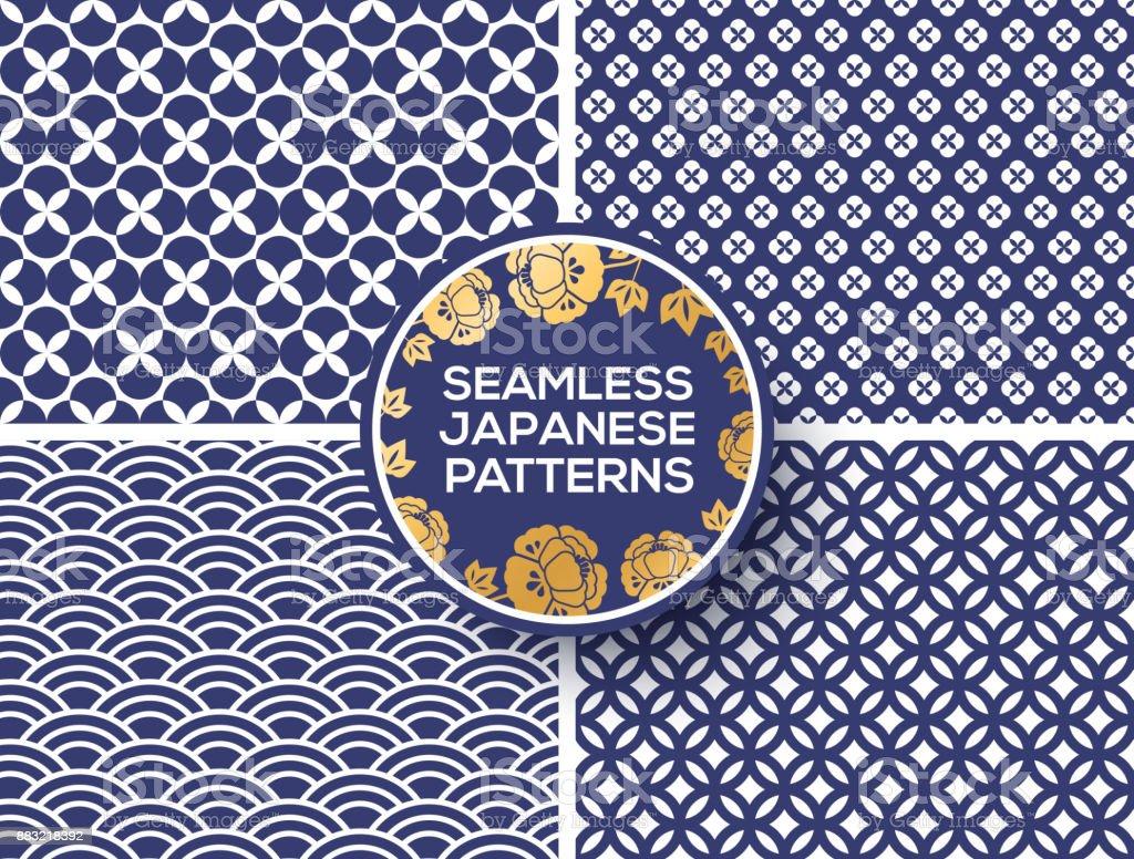 Japanese blue seamless patterns vector art illustration