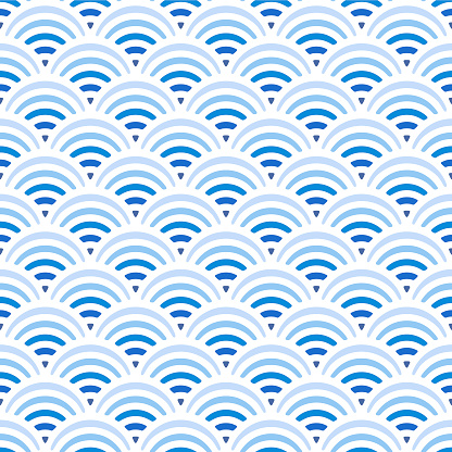 Japanese Blue Wave Vector Seamless Pattern