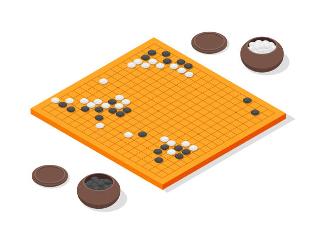 Japanese Board Game Go Concept 3d Isometric View Vector Art Illustration