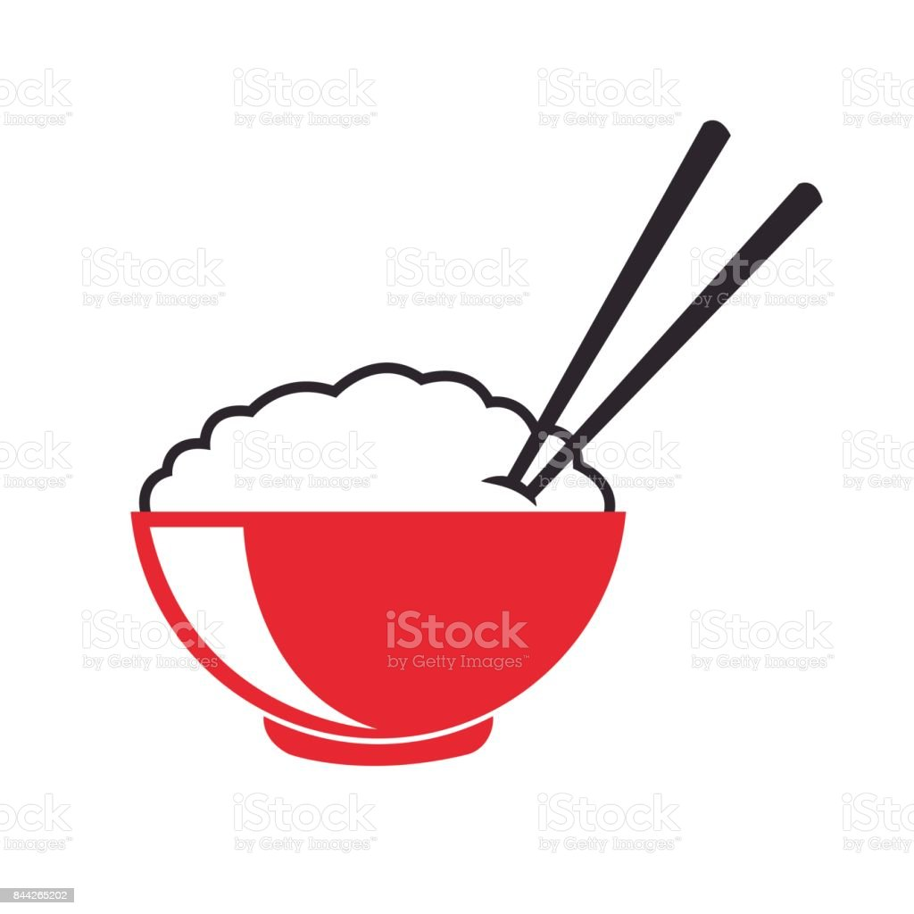 japanese bowl rice food vector art illustration
