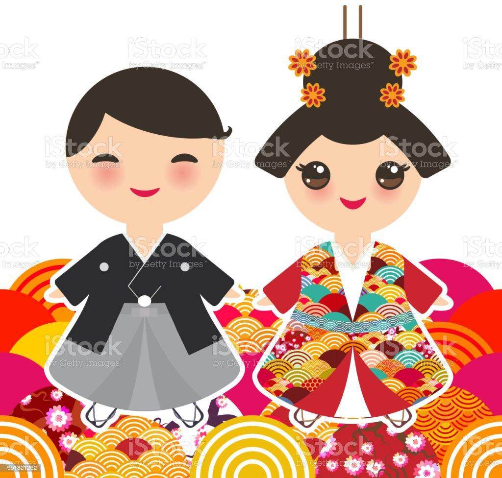 Ilustración de Muchacho Japonés Y Muchacha En Traje Nacional Kimono ...