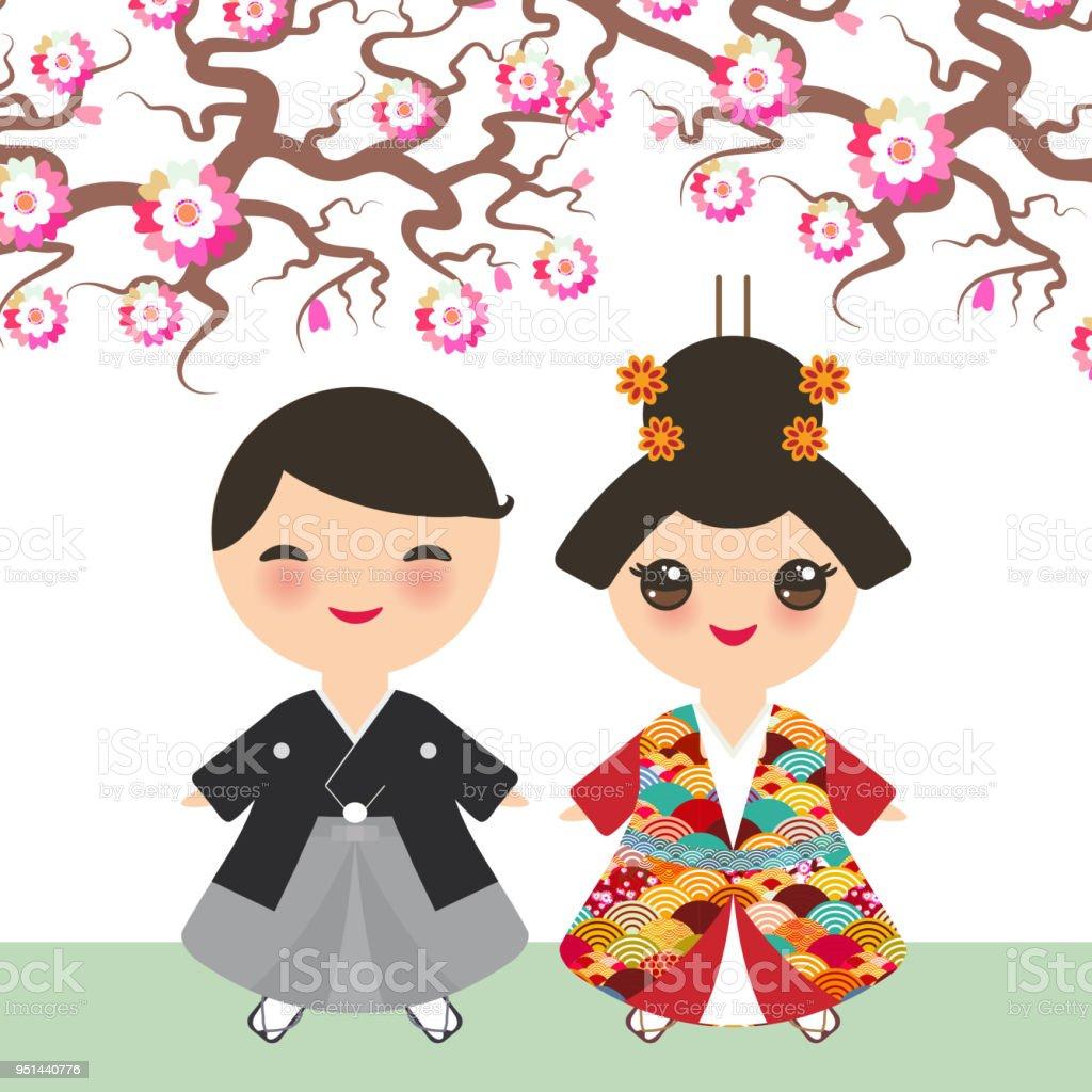 Fille Garcon Japonais En Kimono De Costume National Dessin Anime