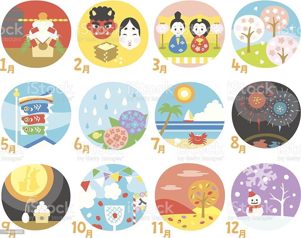 Calendario japonés - ilustración de arte vectorial