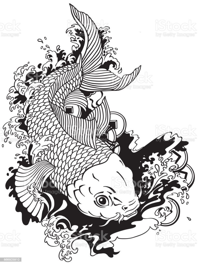 Japanese carp koi black white stock vector art more for Black white koi