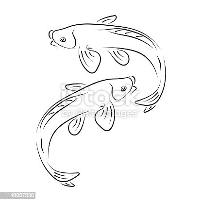 Japanese carp koi abstract ink hand drawn vector logo cartoon. Chinese traditional decor calligraphy curve paint brush sign. Line sketch illustration. Realistic element ornament design, fabric print.