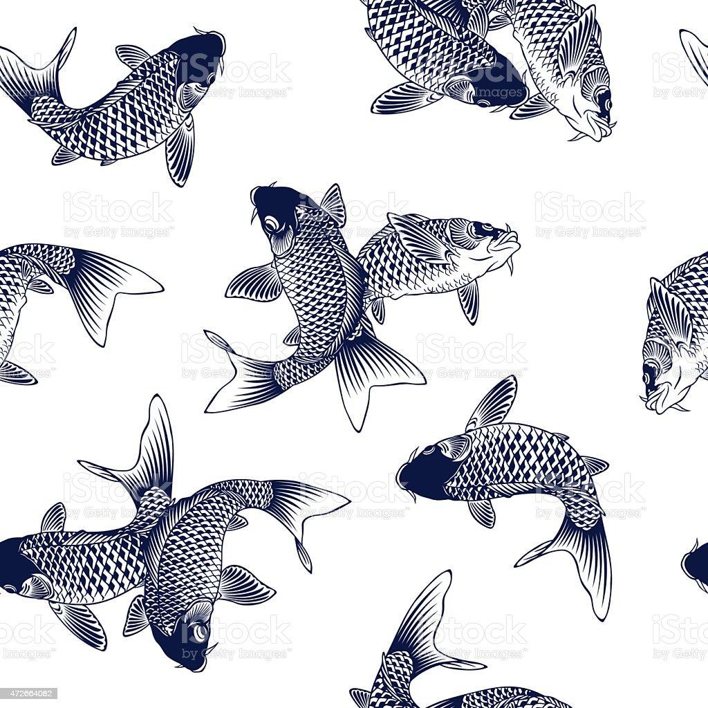 Japanese carp pattern, vector art illustration