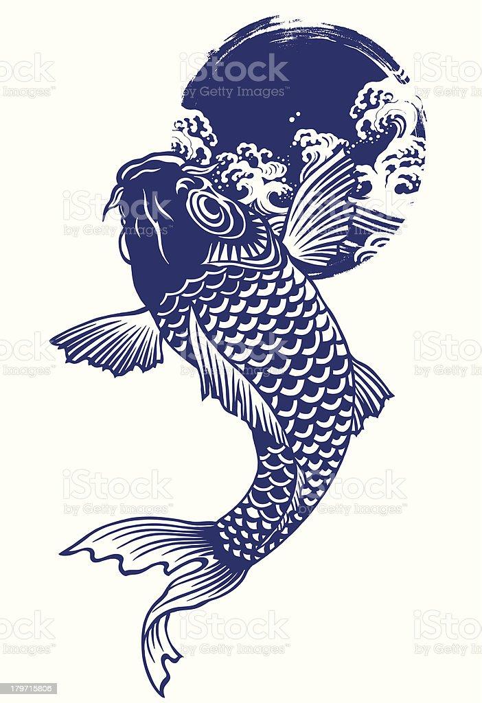Japanese carp, royalty-free stock vector art