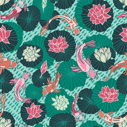 Japanese carps and lotus pads seamless vector pattern