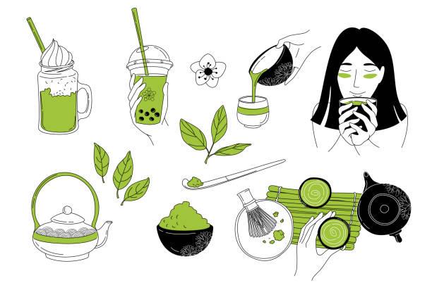 抹茶との日本語の儀式。お茶を飲んでいる東の女の子。 - 抹茶点のイラスト素材/クリップアート素材/マンガ素材/アイコン素材