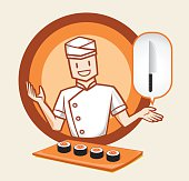 japanese chef character with sushi
