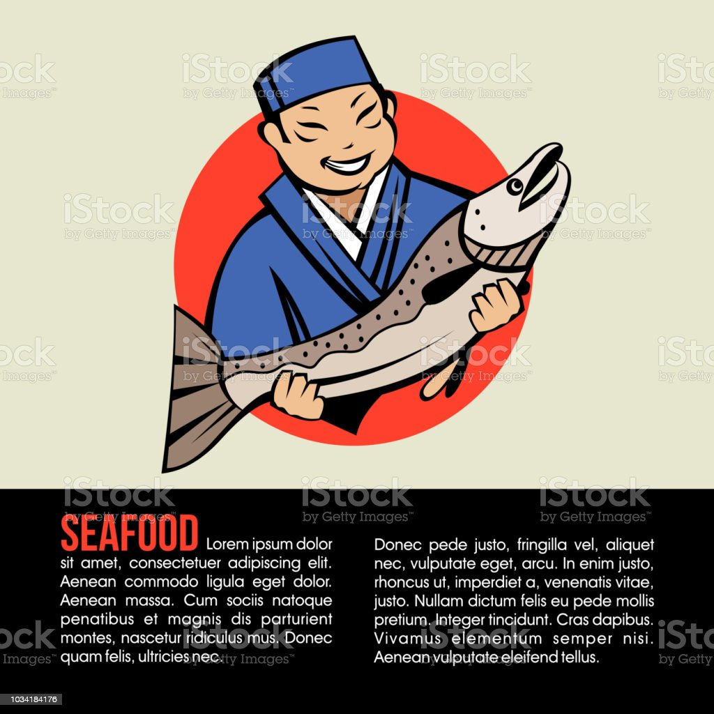 Japanese chef holding fresh fish. Vector of a Japanese restaurant....