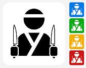 Japanese Chef Icon Flat Graphic Design