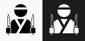 Japanese Chef Icon on Black and White Vector Backgrounds