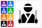 Japanese Chef Icon Square Button Set