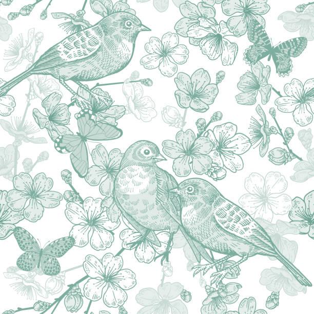 illustrazioni stock, clip art, cartoni animati e icone di tendenza di japanese cherry, bird and butterflies. seamless pattern. green and white. - farfalla ramo