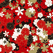 Japanese classic Sakura floral in red, white, black and light beige colors with golden stroke