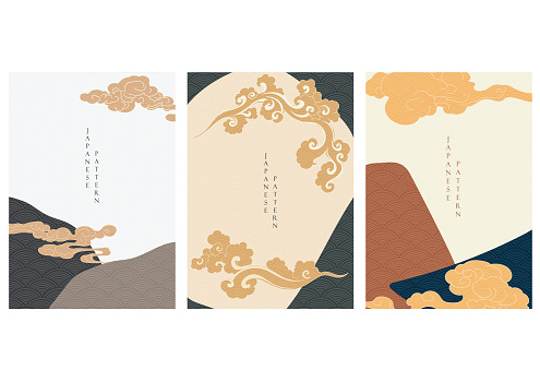 Japanese cloud elements with abstract background vector. Wave pastern with  Asian template.