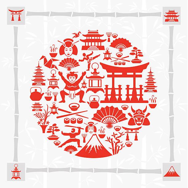 bildbanksillustrationer, clip art samt tecknat material och ikoner med japanese collage - japanskt ursprung