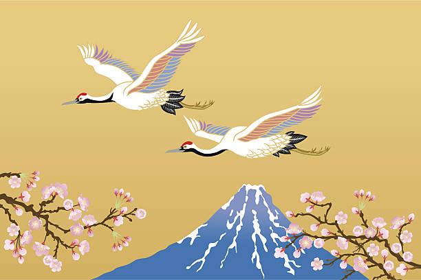 mandschurenkranich und fujisan - kranich stock-grafiken, -clipart, -cartoons und -symbole