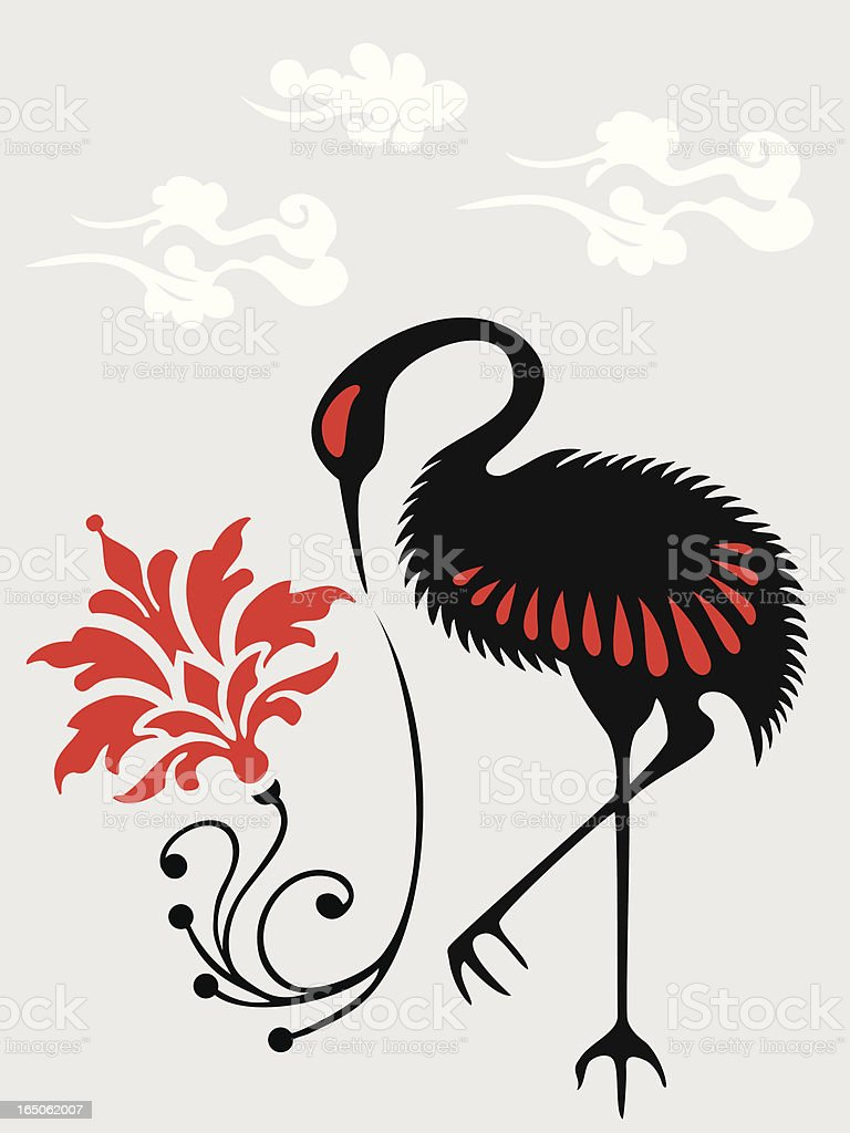 Japanese Crane & Flower royalty-free japanese crane flower stock vector art & more images of abstract