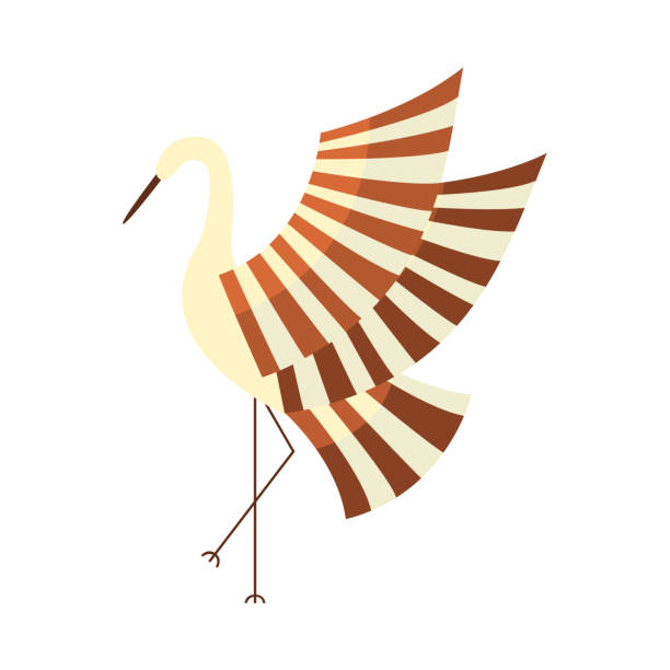 japanese crane, symbol of good luck and longevity - crane bird stock illustrations