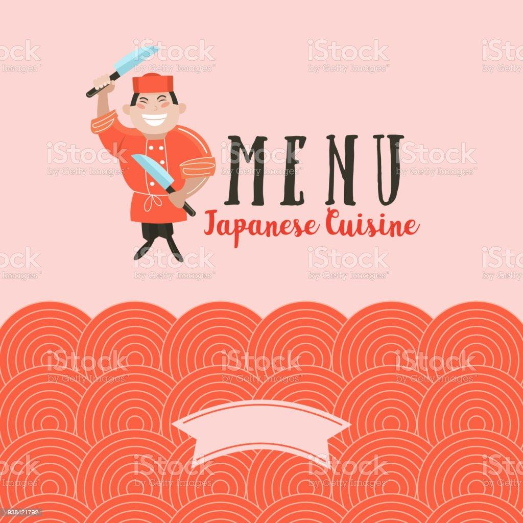 Ilustración de Cocina Japonesa Un Conjunto De Plantillas De Menú De ...